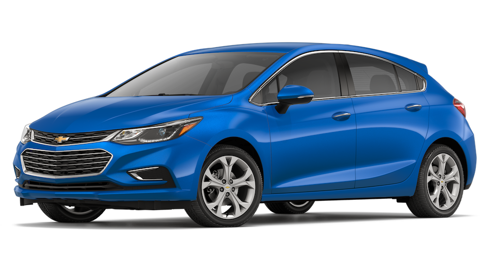 A blue 2018 Chevrolet Cruze is angled left on a white background.