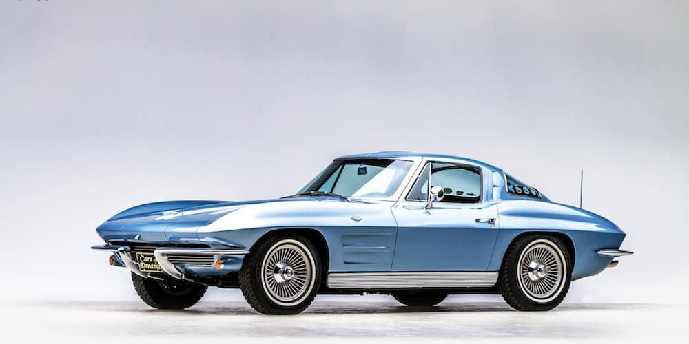 Light blue Classic Chevy Corvette