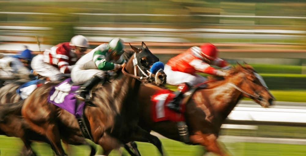 Horses with jockeys racing at the Saratoga Springs, NY race track