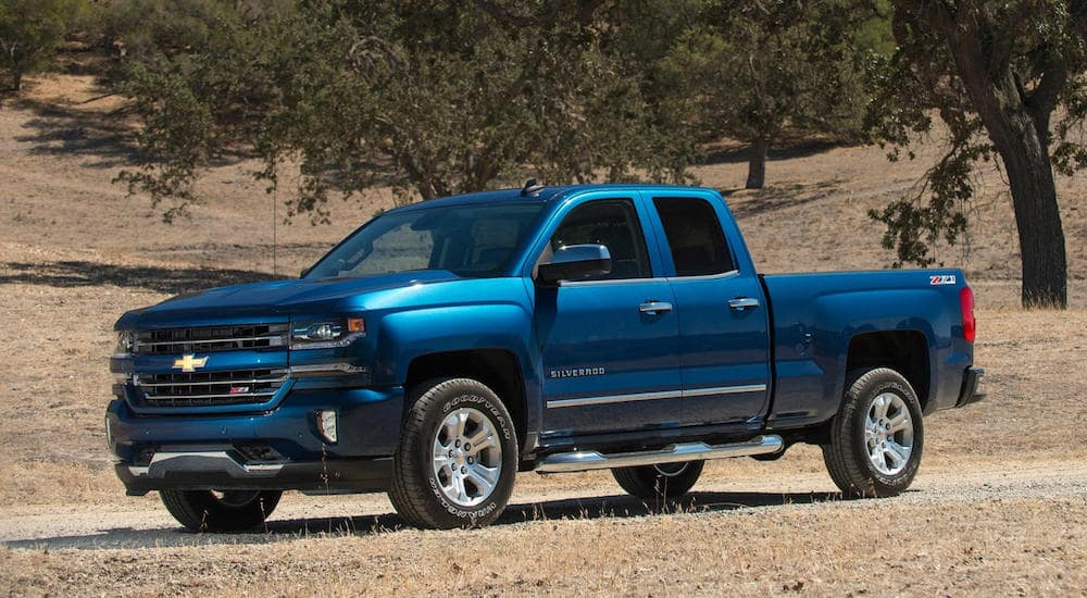 Blue Chevy Silverado pickup truck parked on a dirt road near a field of trees