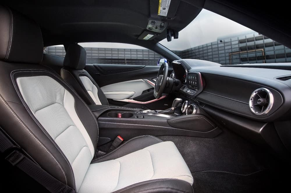 Two-tone black-and-gray leather front cabin interior of a 2019 Chevrolet Camaro 2SS sportscar