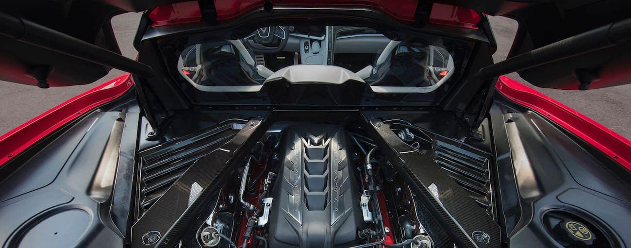 The engine in the new 2020 Chevy Corvette Stingray is shown.