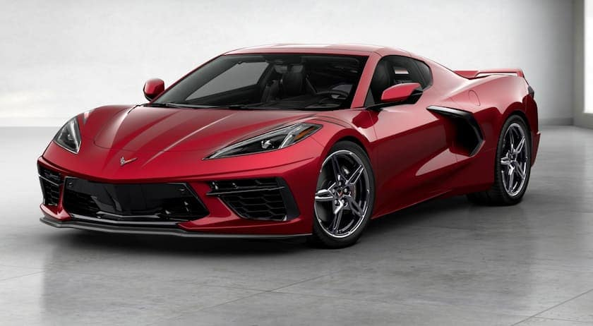 A dark red 2020 Chevy Corvette is facing left.
