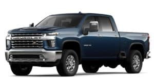 A blue 2020 Chevy Silverado HD is facing left.