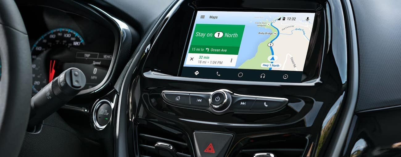 The touchscreen with navigation is being used inside a 2020 Chevy Spark.