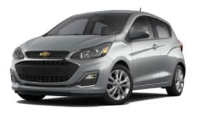 A silver 2020 Chevy Spark is facing left.