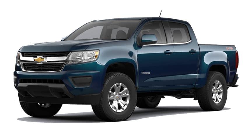 A blue 2020 Chevy Colorado is facing left.