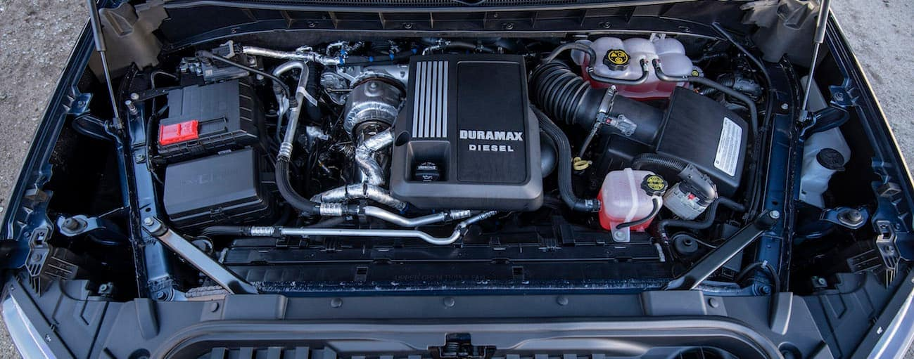 The engine bay of a 2020 Chevy Silverado 1500 with the all-new 3.0L Duramax diesel engine is shown.