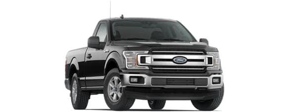 A black 2020 Ford F-150 is facing right.