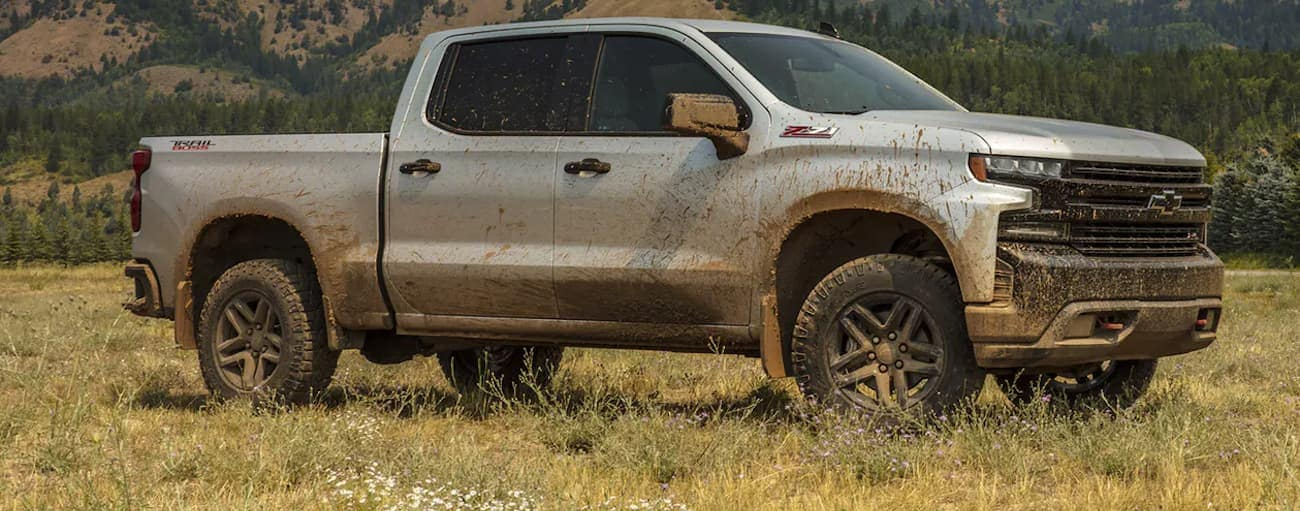 A silver 2020 Chevy Silverado 1500 Trail Boss is covered in mud and parked in a grassy field near Albany, NY.