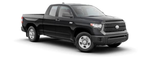 A black 2020 Toyota Tundra is facing right.