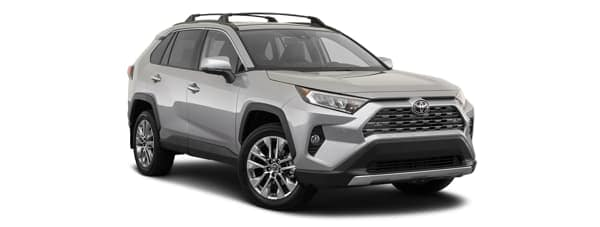 A silver 2020 Toyota RAV4 is facing right.