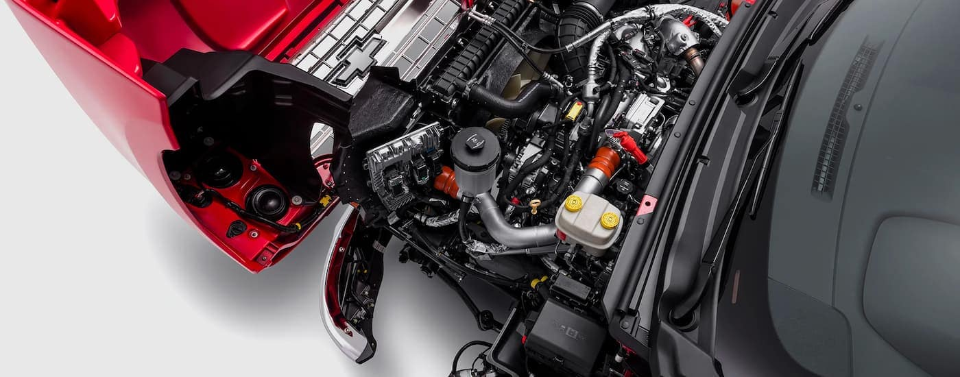 A close up is shown of the engine on a 2021 Chevy Silverado 5500 HD.