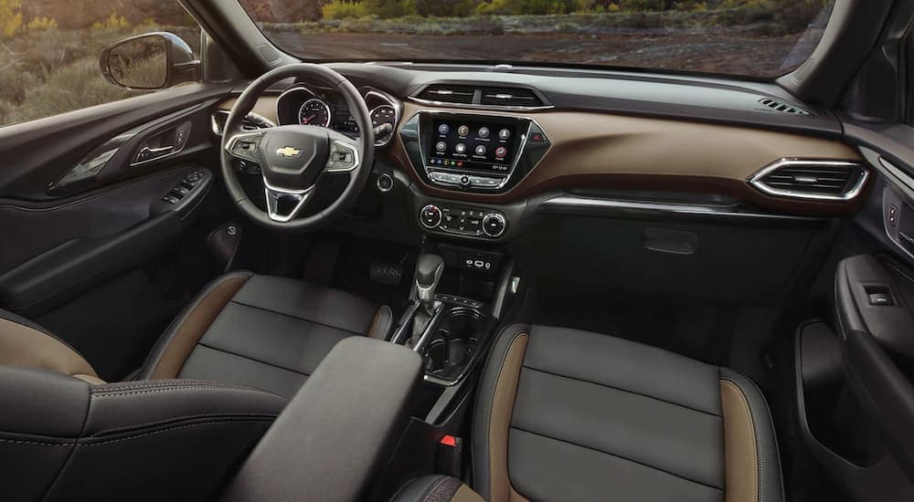 The black and brown interior of a 2020 Chevy Trailblazer is shown.