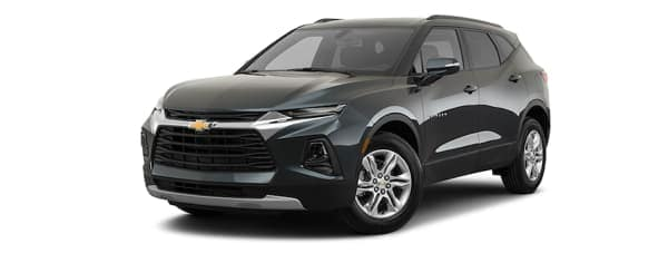 A black 2020 Chevy Blazer is facing left.