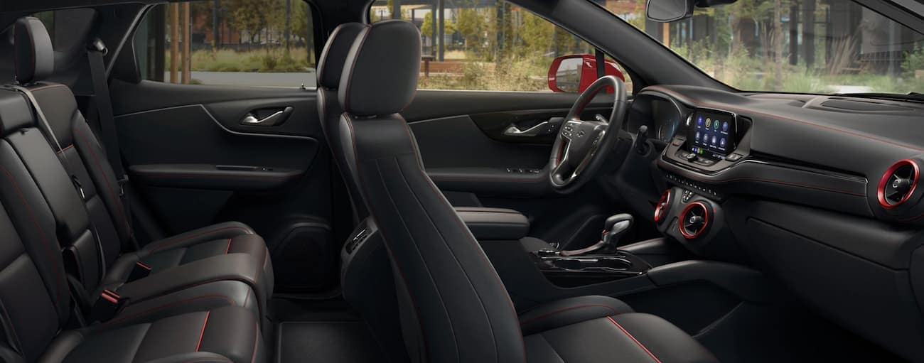 The black and red interior of a 2020 Chevy Blazer is shown.