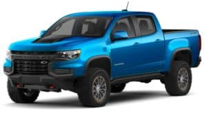 A blue 2021 Chevy Colorado ZR2 is angled left on a white background.