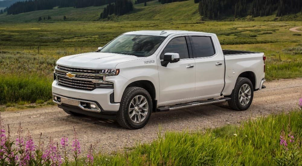 A white 2020 Chevy Silverado, which is popular among trucks for sale in Albany, NY, is driving on a dirt road.