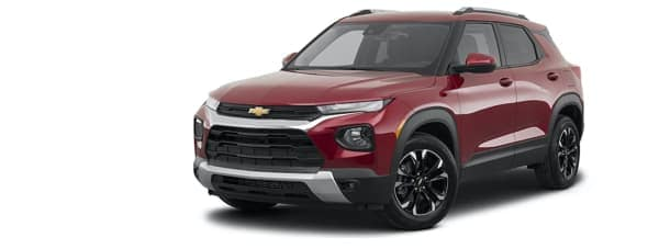 A red and black 2021 Chevy Trailblazer is facing left.