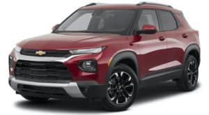 A brown and white 2021 Chevy Trailblazer is facing left.
