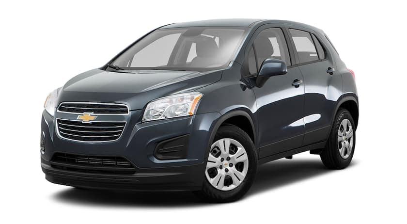 A dark grey 2016 Chevy Trax is facing left.