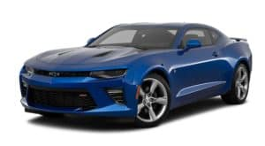 A blue 2017 Chevy Camaro is facing left.