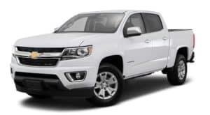 A white 2017 Chevy Colorado is facing left.