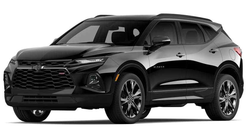 A black 2019 Chevy Blazer is angled left on a white background.