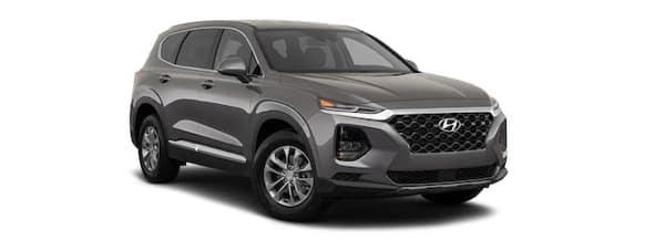 A grey 2020 Hyundai Santa Fe is angled right.