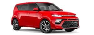 A red 2020 Kia Soul is angled right.