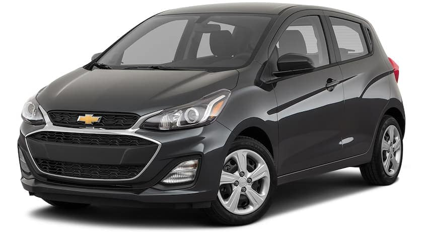 A black 2021 Chevy Spark is angled left.
