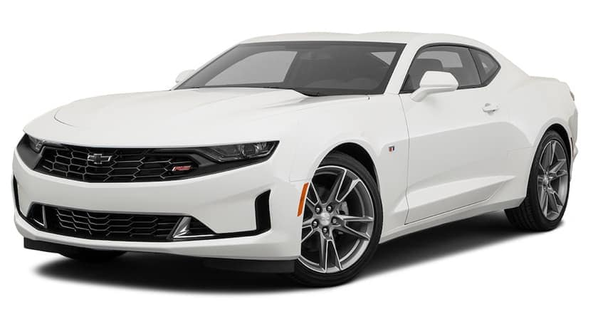 A white 2021 Chevy Camaro LT is angled left.