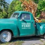 An antique green truck full of fall decorations is shown with Vischer Ferry General Store printed on the side.