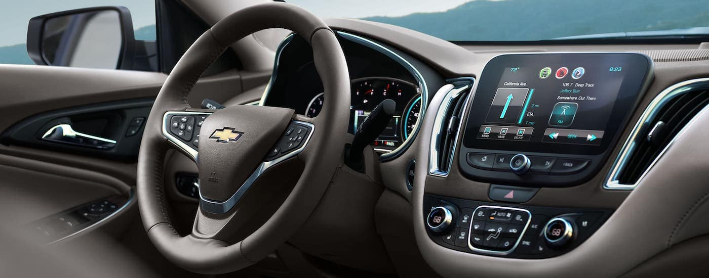 The infotainment screen is shown in a 2021 Chevy Malibu.