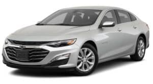 A silver 2021 Chevy Malibu LT is angled left.