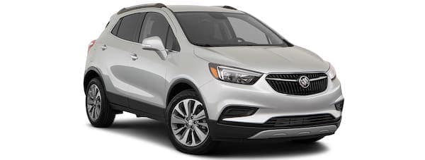 A silver 2021 Buick Encore is angled right.