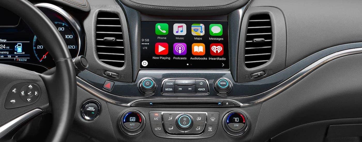A closeup shows the infotainment screen on a 2020 Chevy Impala.