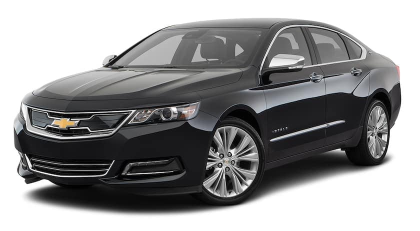 A black 2020 Chevy Impala Premier is angled left.