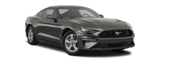 A dark grey 2020 Ford Mustang is angled right.