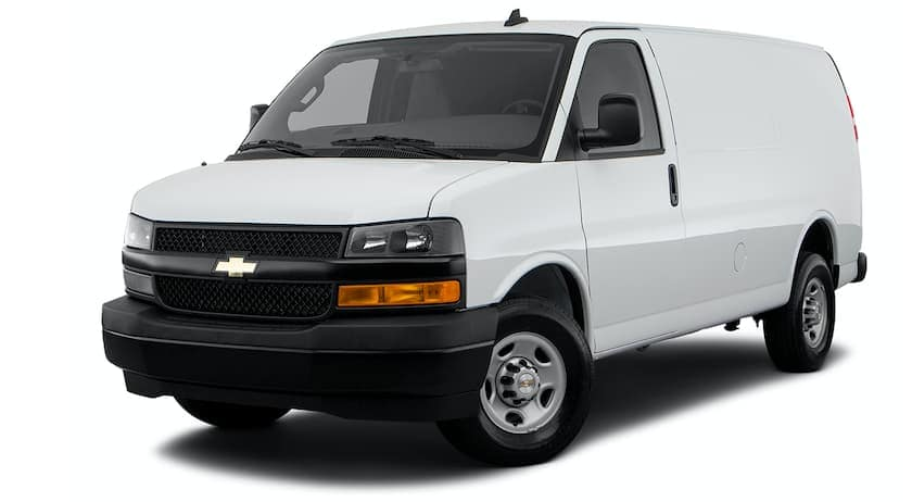 A white 2021 Chevy Express is angled left.