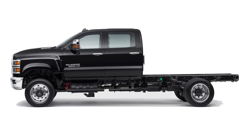 A black 2021 Chevy Silverado 4500 HD is shown from the side, facing left.