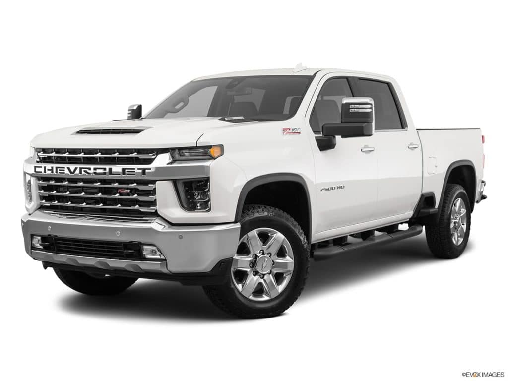 A white 2021 Chevy Silverado HD 2500 is angled left.