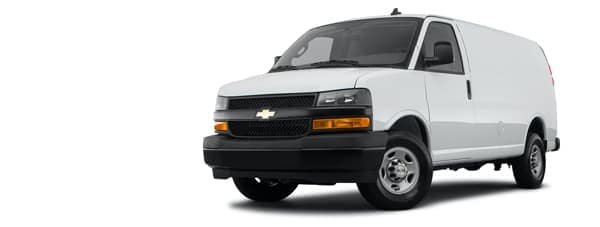 A white 2021 Chevy Express 3500 is angled left.