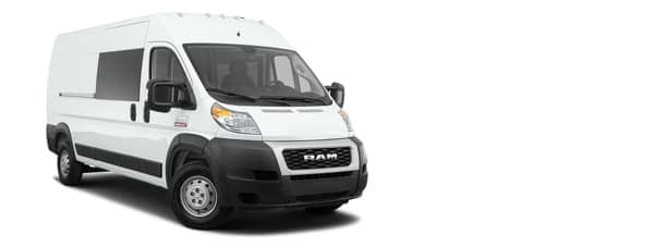 A white 2021 Ram ProMaster 3500 is angled right.