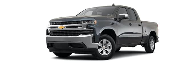 A bacl 2021 Chevy Silverado 1500 is angled left.