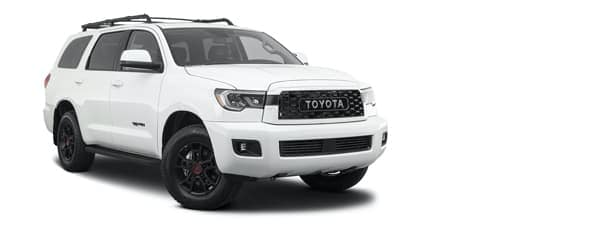 A white 2021 Toyota Sequoia is angled right.