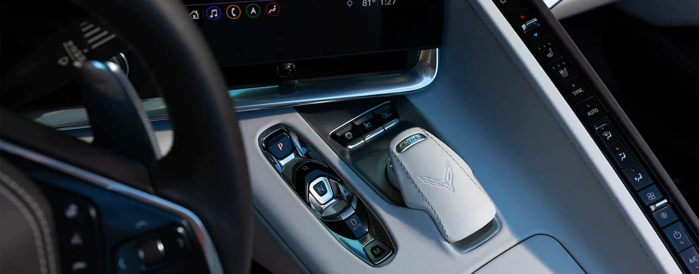 A close up shows the center console controls on a 2021 Chevy Corvette.