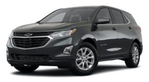 A dark gray 2021 Chevy Equinox is angled left.