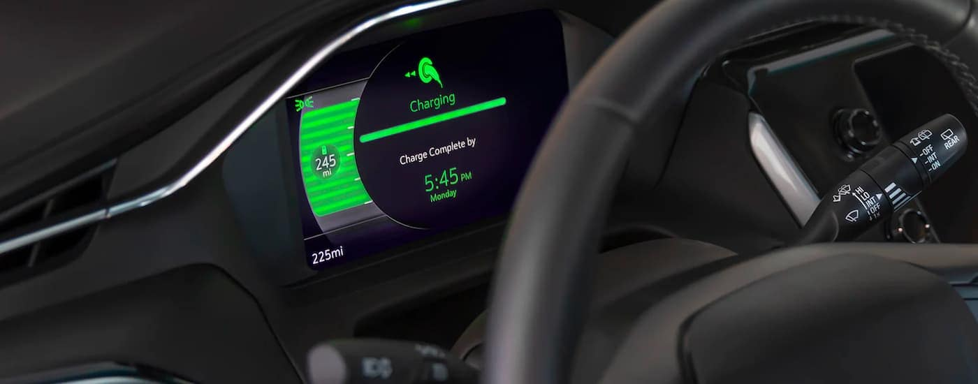 The gauge cluster showing the charging status is shown in a 2022 Chevy Bolt EUV.