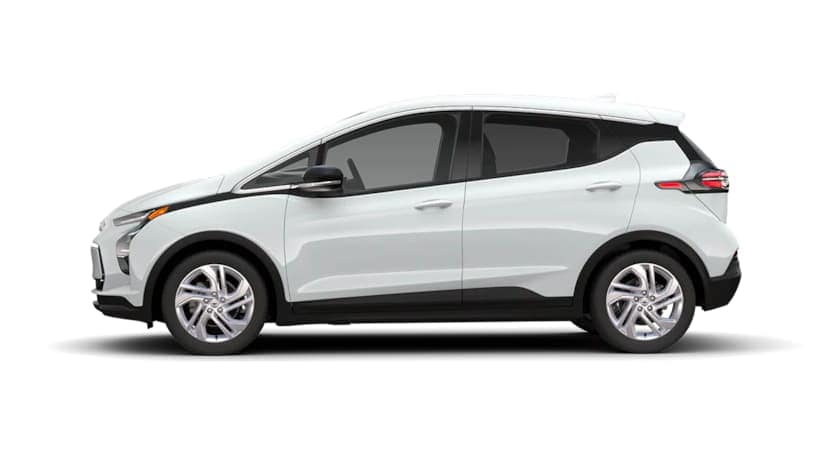 A white 2022 Chevy Bolt EV is angled left.